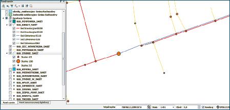 Rys. 6. Fragment sieci z zastosowaniem symbolizacji obiektów
