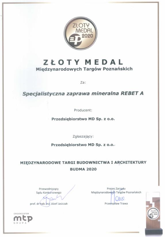 Złoty medal BUDMA 2020 dla REBET A