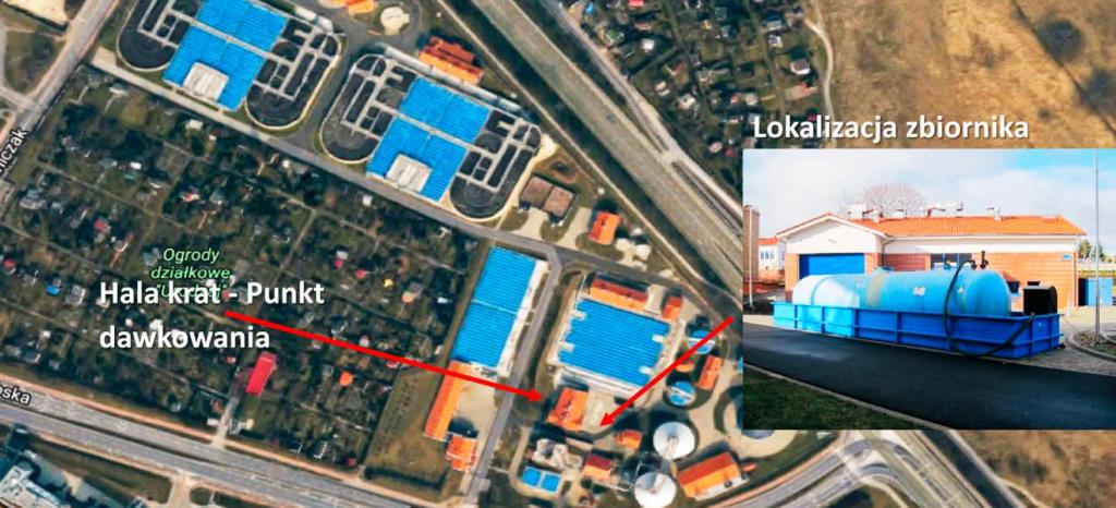 Fot. 1. Lokalizacja zbiornika i instalacji testowej w obiekcie