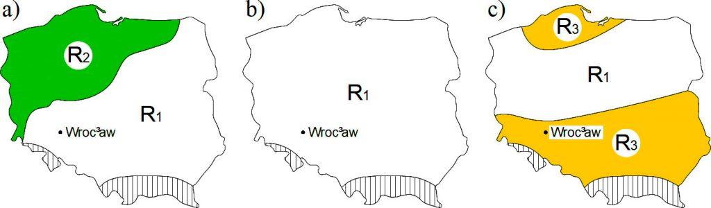 Rys. 2. Regiony opadów maksymalnych. a) dla czasów trwania deszczy td Î [5; 60) min; b) dla td Î [60; 720) min; c) dla td Î [720; 4320] min; R1 – region centralny, R2 – region północno- zachodni, R3 – regiony południowy i nadmorski [23]