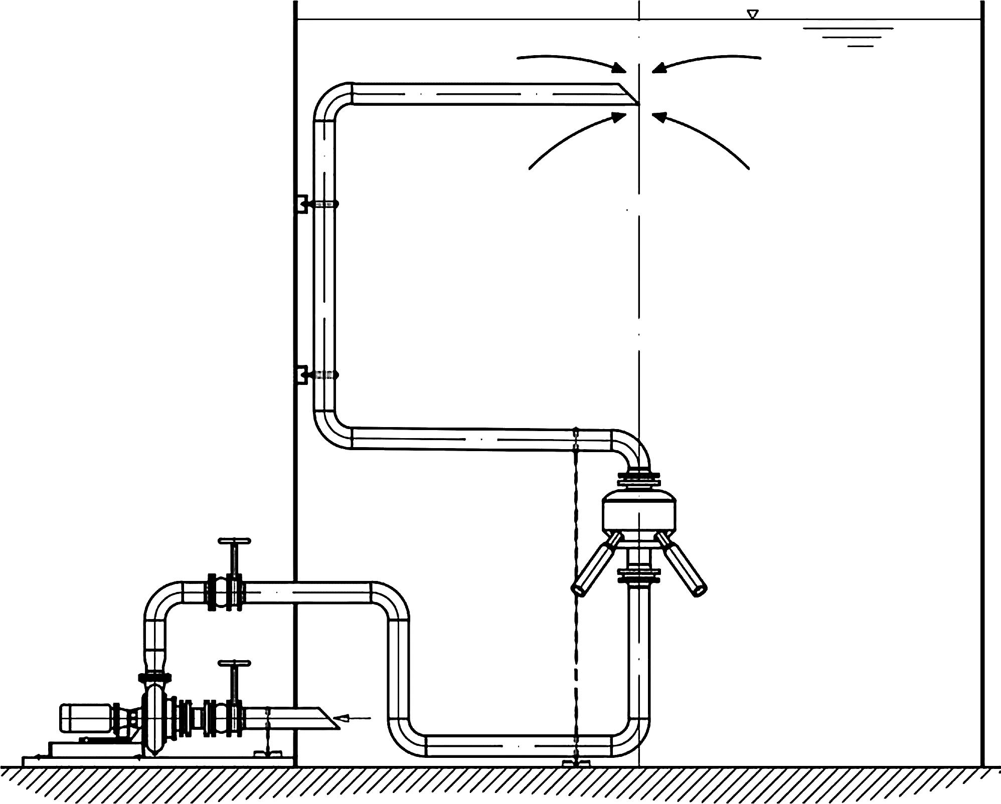 Rys. 8 Schemat rozmieszczenia mieszadła eżektorowego odśrodkowego w reaktorze [6]