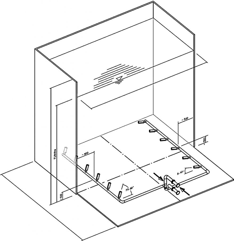 Rys. 16 Sposób ukierunkowania głowic eżektorowych w magistrali;  b – w zbiorniku o przekroju kwadratowym [6]