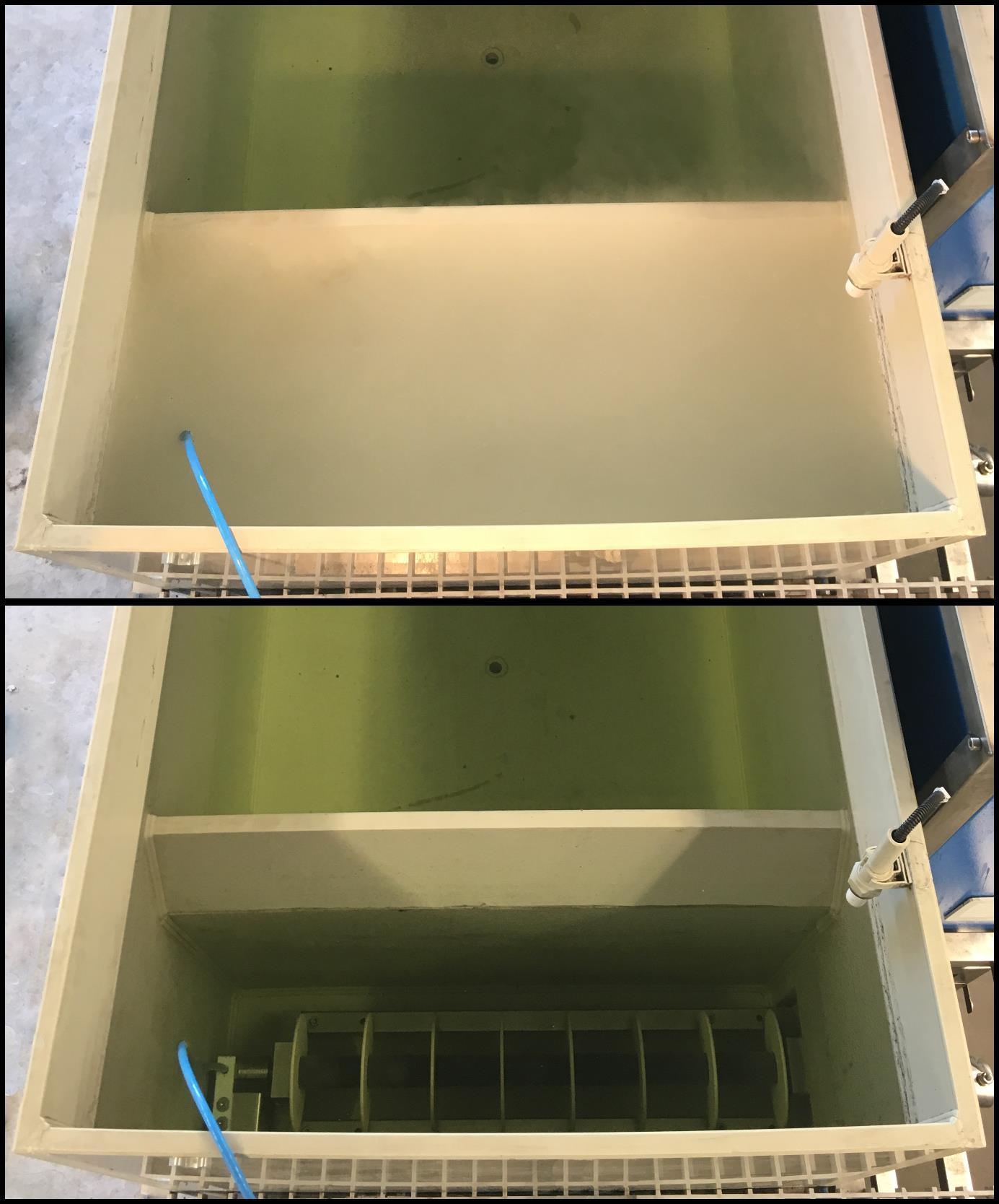 """Rys 3. Komora z generatorem MicroGas™: na dole - z wyłączonym urządzeniem, na górze – po włączeniu generatora, widoczny proces saturacji oraz """"biała woda""""  [7]"""