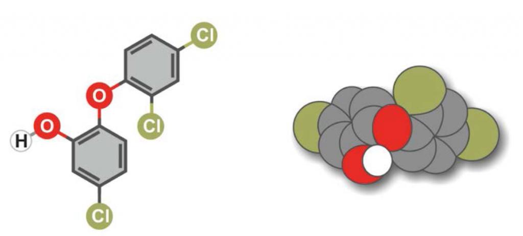 Rys. 1. Wzór strukturalny i struktura przestrzenna triklosanu [7]