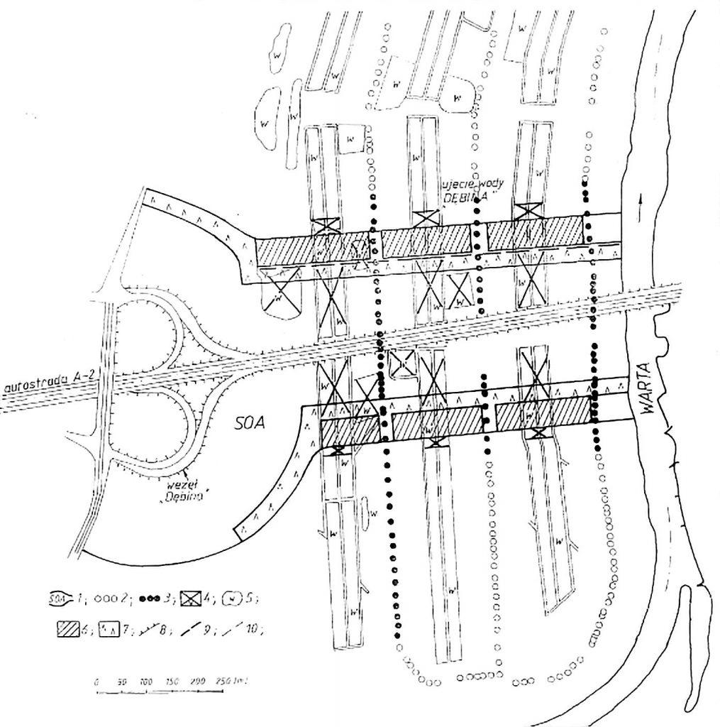 Ryc. 2. Most autostrady A2 na obiektami ujęcia wody [Liszkowska]
