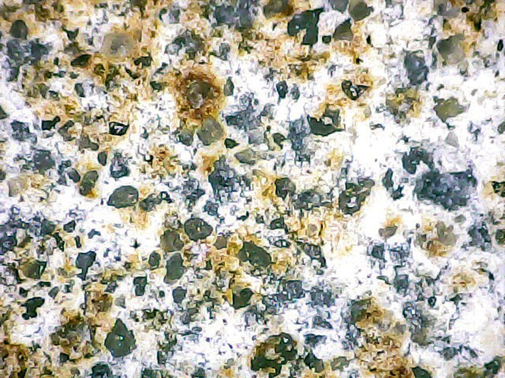 Rys. 3 Obraz mikroskopowy powierzchni zaprawy cementowo-polimerowej po badaniu wytrzymałości na odrywanie. Rozerwanie nastąpiło w miejscu brązowego zabarwienia widocznego na rys. 2 a i 2 b