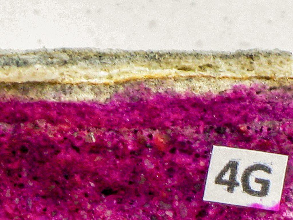 Rys. 4 a Grubości warstw całkowicie zneutralizowanego betonu (powierzchnia niezabarwiona)