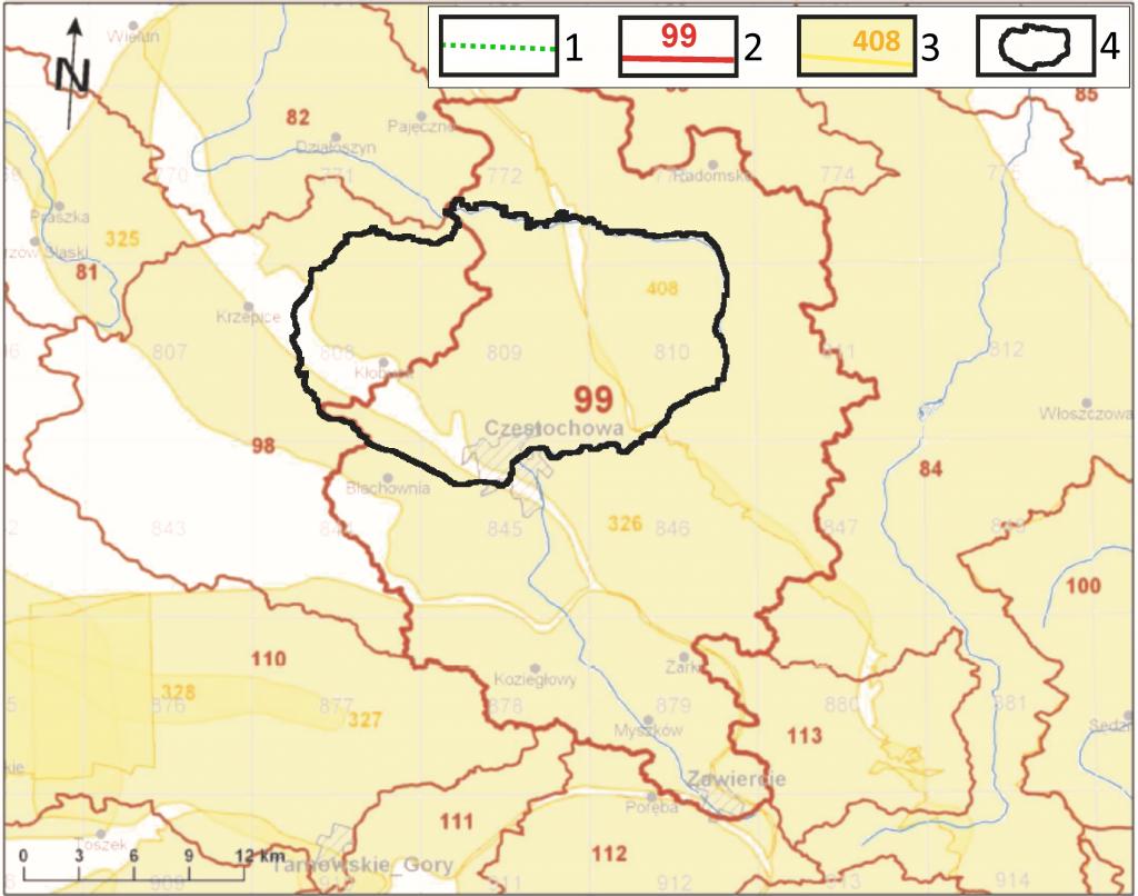 Rys. 1. Obszary GZWP i JCWPd objęte modelem numerycznym przepływu wód. 1 – obszar eksploatacji PWiKOCz; 2 – granica i numer JCWPd; 3 – obszar, granica i numer GZWP; 4 – granica obszaru badań modelowych