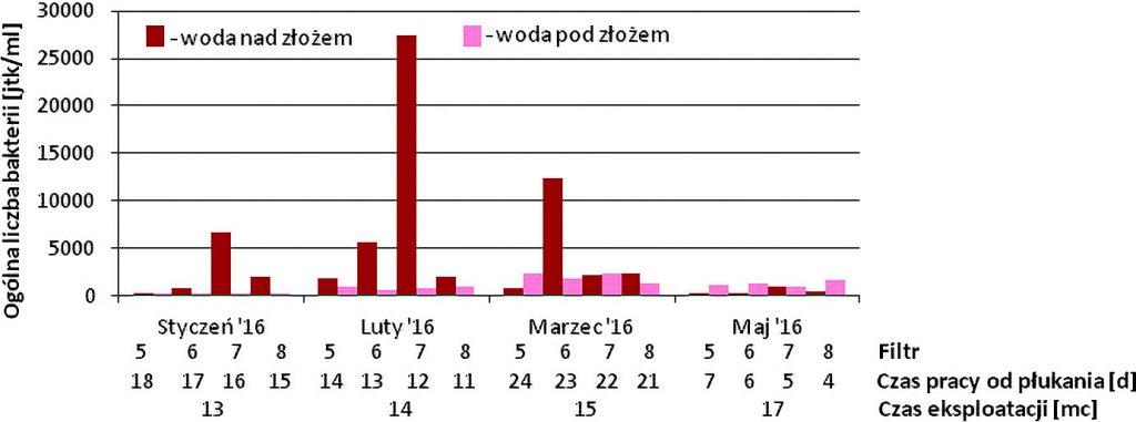 Rys. 8.Ogólna liczba bakterii psychrofilnych w wodzie nad złożem filtracyjnym i w filtracie – filtry węglowe SUW