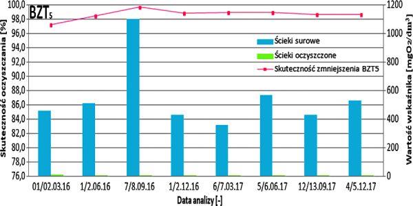 Rys. 3 Efektywność obniżenia wartości BZT5 w badanych ściekach