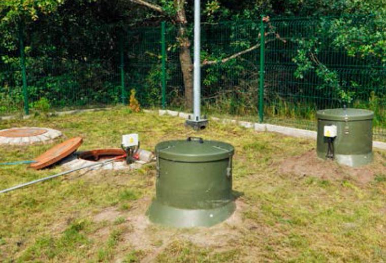 Rys. 12 Osadnik wtórny, otwarta studnia kontrolno-pomiarowa LOŚ Ścięgnica