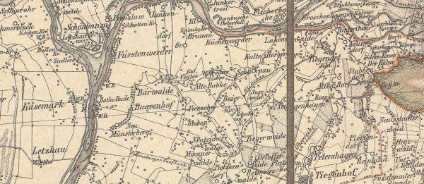 Fig.4. Fragment mapy Żuław Malborskich z 1865 roku z wiatrakami zaznaczonymi piktogramami. Natiolal Atlas autor: Reymann, Flemming. Źródło: domena publiczna, http://www.davidrumsey.com z dnia 5.06.2021