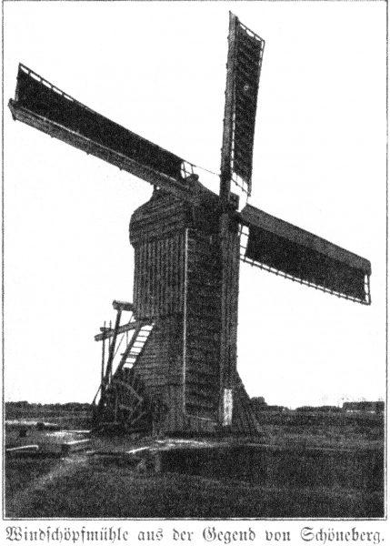 Fig.5. Wiatrak czerpakowy z okolic Ostaszewa nad Wisłą (Schöneberg) - Żuławy Malborskie.  Źródło: publikacja z 1907 roku [10].