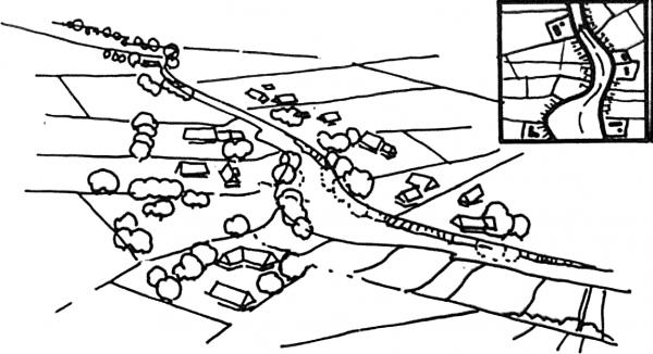 Fig.7. Wieś ulicowa wodna – zasada rozplanowania. Źródło: rysunek Bogna Lipińska, publikacja [11].