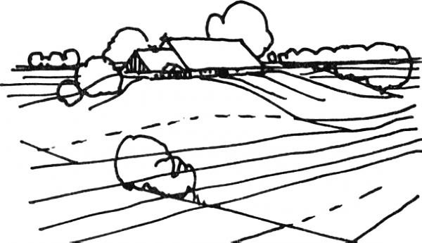 """Fig.11. Zabudowa wzdłużna na """"terpie"""", sztucznym wzniesieniu. Źródło: rysunek Bogna Lipińska, publikacja [12]."""