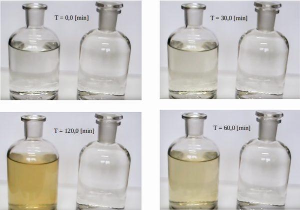 Zdjęcie 1. Żelazo w formie rozpuszczonej (butelka po prawej) i wytrąconej (butelka po lewej przy różnym czasie kontaktu z tlenem). Próbka wody surowej zawierającej ok 10,0 mg/L żelaza została poddana napowietrzaniu.